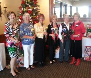 At our Christmas luncheon held on December 17, our 2014 Board was sworn in. Congratulations to our new Board! From left to right, Linda Stacey (Secretary); Edith Stock(Asst. Treasurer); Sherry Gray (Treasurer); Loralee DeSanto (2nd VP Membership); Joan Lang (President); and Roberta Heine (1st VP Programs).