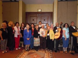 Nancy Prior, Anita Rodriguez and Joan Lang along with members of the Mariachi band plus other members of AZFRW.