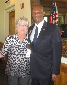 Our president, Joan Lang, and Rev. Clyde Bowen.