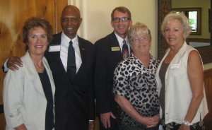 (Left to Right) Ret. Lt. Colonel Wendy Rogers, candidate for congress (AZ CD9), Rev. Clyde Bowen, current Clerk of the Superior Court in Maricopa County, Joan Lang, and Jan Cyr.